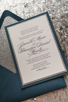 Navy and silver wedding invites --- I like the other ones better, but this is a good second choice.