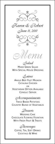 wedding menu templates just another wordpress site anniversary