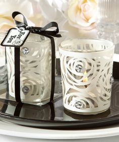 bling collection white candle holder