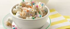 Betty Crocker™ frosting and white chocolate give this snack mix a sweet surprise--add colorful sprinkles for a snack fit for a party!
