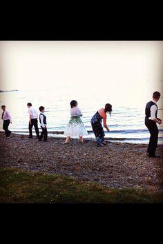 Skimming stones on the lake!