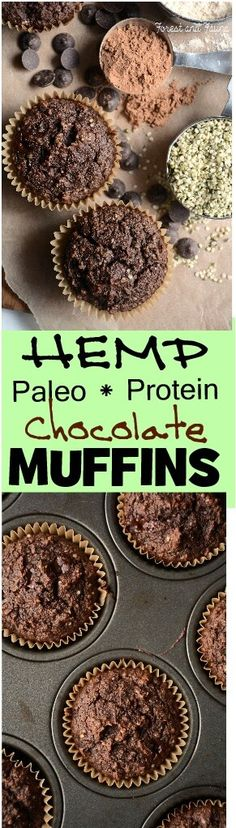 Paleo Hemp Protein Chocolate Muffins - low carb - dairy-free - muffin recipe