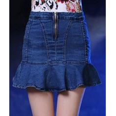 Ladylike Zippered A-Line Flounced Denim Skirt For Women