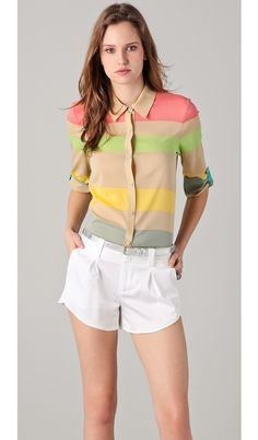 alice and olivia Beau Button Down Flare Top