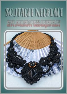 Black bib soutache necklace for women, elegant Victorian necklace, unique individual large party necklace, exclusive collier soutache Soutache Necklace, Black Agate, Embroidery Techniques, Statement Jewelry, Fashion Necklace, Wire Wrapping, Poland, Delicate, Victorian