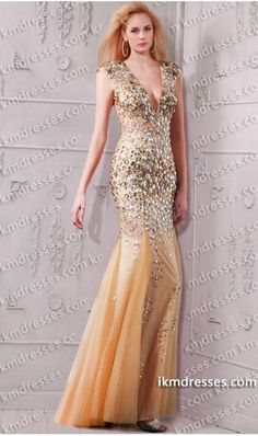 marvelous+fully+beaded+plunging+V+neck+open+back+mermaid+gown+Pink+Dresses