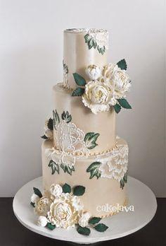 Photos of custom wedding cakes designed by Rick Reichart of cakelava Las Vegas, NV. Floral Wedding Cakes, Wedding Cakes With Cupcakes, Elegant Wedding Cakes, Floral Cake, Wedding Cake Designs, Beautiful Wedding Cakes, Gorgeous Cakes, Pretty Cakes, Amazing Cakes