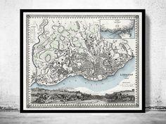 Old Map of Lisbon Lisboa Portugal mapa antigo 1844