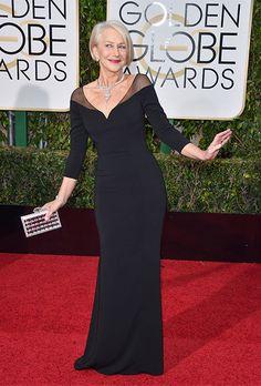 Brides.com: . Helen Mirren in Badgley Mischka at the 2016 Golden Globes.