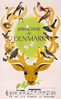 Springtime in Denmark vintage travel poster/ Deer