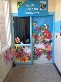 Christmas decor! Classroom door decorated for Christmas.