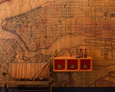 vintage map infused veneer panel by b+n industries - WOW!  (not really wallpaper, but very cool wall cover.)