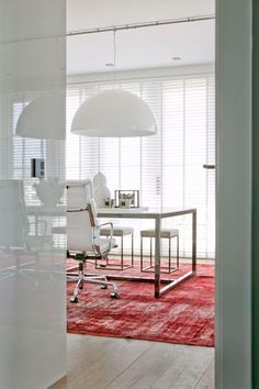 dreamy white office space with a fresh bright rug. PERFECTION!