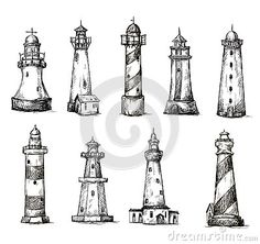 Set of cartoon lighthouses. icons. pencil drawing