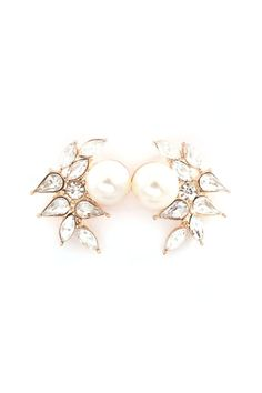 Marquise Perl Earrings in Gold