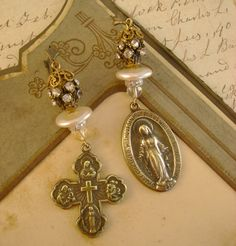 Pray For Us - Vintage Cross Miraculous Mary Religious Sacred Catholic Medal Recycled Repurposed Assemblage Jewelry Earrings on Etsy, $44.99