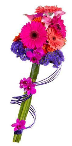 Bouquet de mariée haut en couleurs