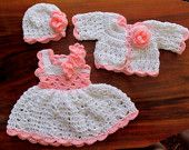 Newborn take home outfit set first outfit take home baby dress sweater  hat white pink baby clothes