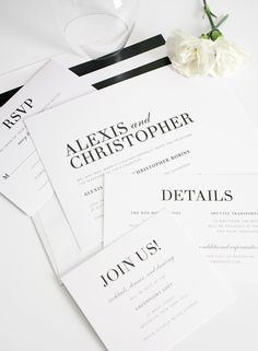 Mordern black and white wedding invites. Ask us how we can customize these invites!
