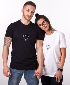Babaseal Harajuku Punk Couple Clothes Women Print Day And Night , Set Of Two, Matching Couple T-shirts For Friends, Camiseta Cute Couple Shirts, Couple Tees, Matching Couple Shirts, Matching Couples, Matching Outfits, Cool Shirts, Shirt Print Design, Shirt Designs, Couples Assortis
