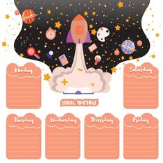 School timetable schedule back to school. space background with stars and school subjects Premium Vector Weekly Planner Template, Schedule Templates, Printable Planner, Planner Stickers, School Schedule, Weekly Schedule, Kids Background, Vector Background, School Timetable