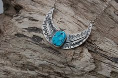 Turquoise Moon Sterling Silver and Valley Blue Turquoise Necklace
