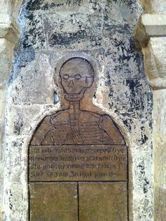 The Skeleton, Norwich Cathedral. Thomas Gooding who asked to be buried standing upright to ease his step into the next world.