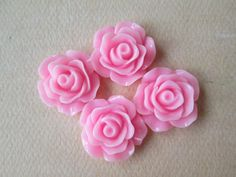 4PCS  Rose Cabochons  Glossy  18mm  Pink  Cabochons by by ZARDENIA, $2.00