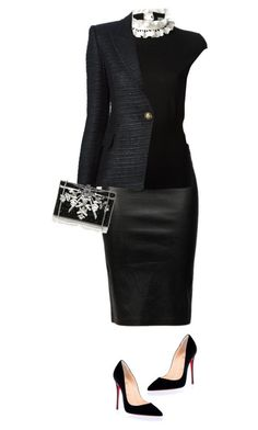 Untitled #2333 by tina-teena on Polyvore featuring polyvore, fashion, style, Alexander McQueen, Balmain, Helmut Lang, Christian Louboutin, Judith Leiber and clothing