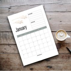 Designed to be economical with ink. Each month features a copper botanical motif. Space for 3 monthly creative and 3 monthly personal goals.