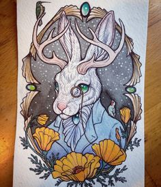 """I just finished the dapper jackalope commission piece for a good friend of mine, another cameo style painting, I'll probably be doing a few more little…"""