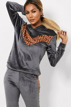 Grey Side Stripe Velour Tracksuit Lounge Sets Joggers Hoody Gym Yoga 8 10 12 14 #Unbranded Hoody, Joggers, Lounge, Yoga, Gym, Retro, Women, Fashion, Airport Lounge