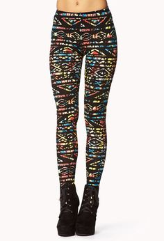 Multi-Colored Tribal Print Leggings