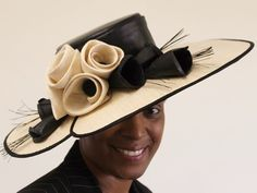 Latest Ascot Hats: Matthew Eluwande Millinery Holly in Black and Natural (Price: £449.99)
