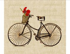 Vintage bicycle Basket Orange Poppies digital download image for transfer to fabric decoupage paper pillows burlap No. 586