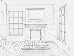 Elements to incorporate in a perspective of · window drawing interior. One Perspective Drawing, One Point Perspective Room, Perspective Art, Interior Architecture Drawing, Drawing Interior, Interior Design Sketches, Landscape Architecture, Fireplace Drawing, Drawing Skills