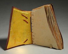 Yearning, Book One (2016) mixed media on tea chest paper, wet-formed leather covers, unique, 4.75 x 6 x 3.5 inches
