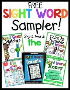 """Sight Word Sampler FREEBIE!  Includes a Sight Word Watch, Sight Word Money, Sight Words Scoops, Sight Word Tablet and Color by number sight word for the word """"THE""""!"""
