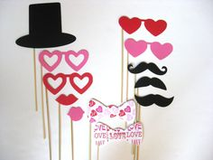 Photo Booth Props  Valentine's Day 12 piece set  by PhotoBoothFun, $24.00