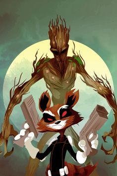 Rocket Racoon and Groot by rictercio on deviantART