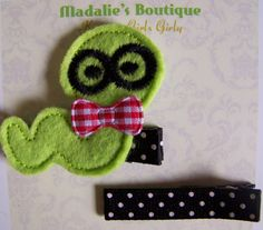 Bookworm on Black Swiss Dot Lined Clippies by MadaliesBoutique