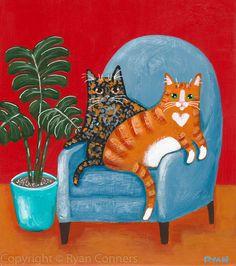 Tortie and Ginger Tabby Cat Original Folk Art Acrylic Painting - Big E - Katzen / Cat Folk Art Acrylic Paint, Painting Abstract, Acrylic Paintings, Illustrations, Illustration Art, Frida Art, Shark Art, Photo Chat, Arte Popular