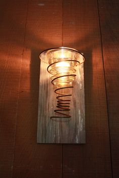 Tea Light Candle Wall Sconce with Rusty Spring and Vintage Telegraph Glass Insulator