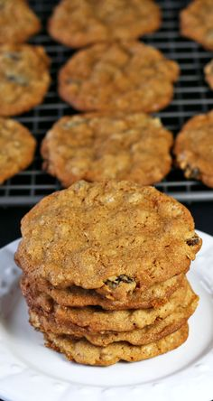 Oatmeal Raisin Cookies - thin, crispy and buttery. Love these cookies! They keep well also. Recipes Food and Cooking:
