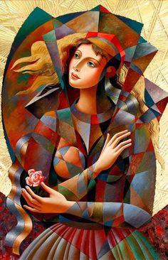 Rose for her ~ Oil painting by Art And Illustration, Arte Pop, Cubist Art, Abstract Art, Modern Art Paintings, Art Moderne, Art Abstrait, Surreal Art, Collage Art