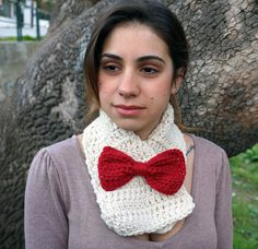 Crochet scarf with bow crochet cowl womens scarf MP013 by Malloo