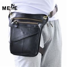32.19$  Watch here - MEGE Men Women genuine leather bag vintage leather thigh bag waist leg bag, Tactical Outdoor Sport Hunting Camping pouch  #buyonlinewebsite