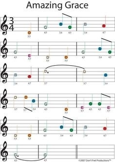 easy guitar sheet music for amazing grace featuring don't fret producitons color coded guitar tablature