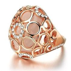 opal 18k rose gold plated Swarovski crystal ring R259