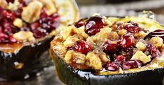 Stuffed Acorn Squash - While we could have chosen to stuff them with couscous or quinoa, we decided to take a slightly sweeter approach and use fresh cranberries with a little brown sugar and honey.